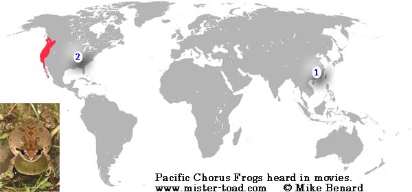 Map of Pacific Chorus Frogs heard in movies